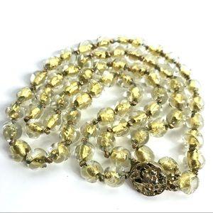 Vintage Necklace Venetian Glass Bead Gold Metallic
